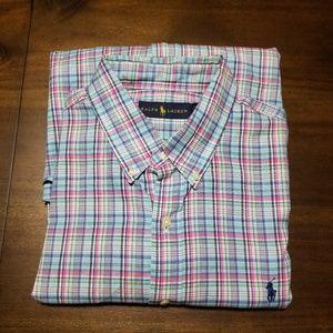 Ralph Lauren Pastel Plaid Oxford Shirt Cotton XL
